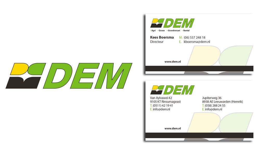 Reclamebureau Friesland-grafisch ontwerp-drukwerk-DEM BV Logo - Visitekaartje VORM ELEVEN CC